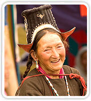 Local Woman in Traditional Dress of Ladakh